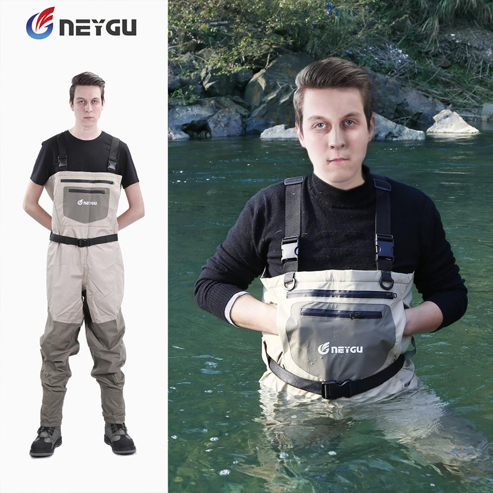 NEYGU waterproof fly fishing waders integrated socks, rainproof Overalls waist high waders for hunting-in Fishing Clothings from Sports & Entertainment    1