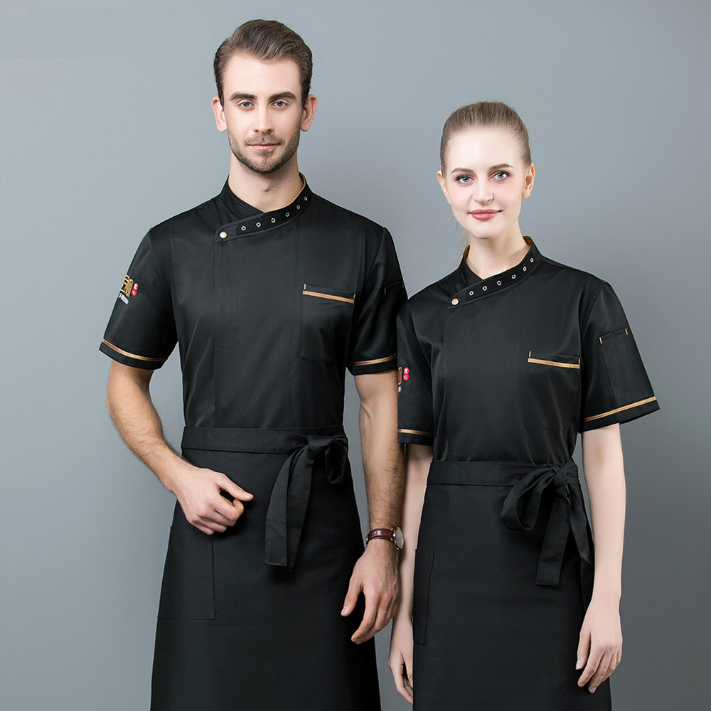Chef Uniform Embroidery Cool Short Sleeve Chef Jacket Wholesale Custom Logo Work Shirts Food Service Canteen Kitchen Uniform