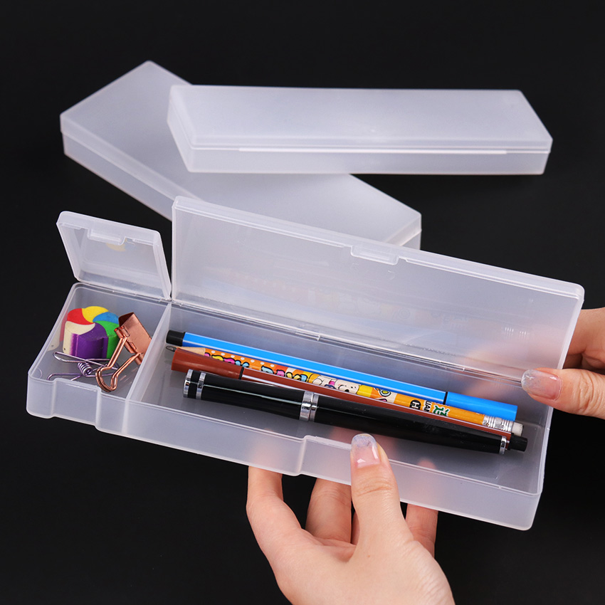 Simple Transparent Frosted Pencil Case Office Student Pencil Cases For Student Gift School Supplies Pen Box