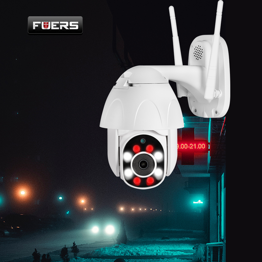 FUERS 1080P PTZ Dome IP Camera Wifi CCTV Security Speed Waterproof Surveillance Night Vision Motion Detection Monitor