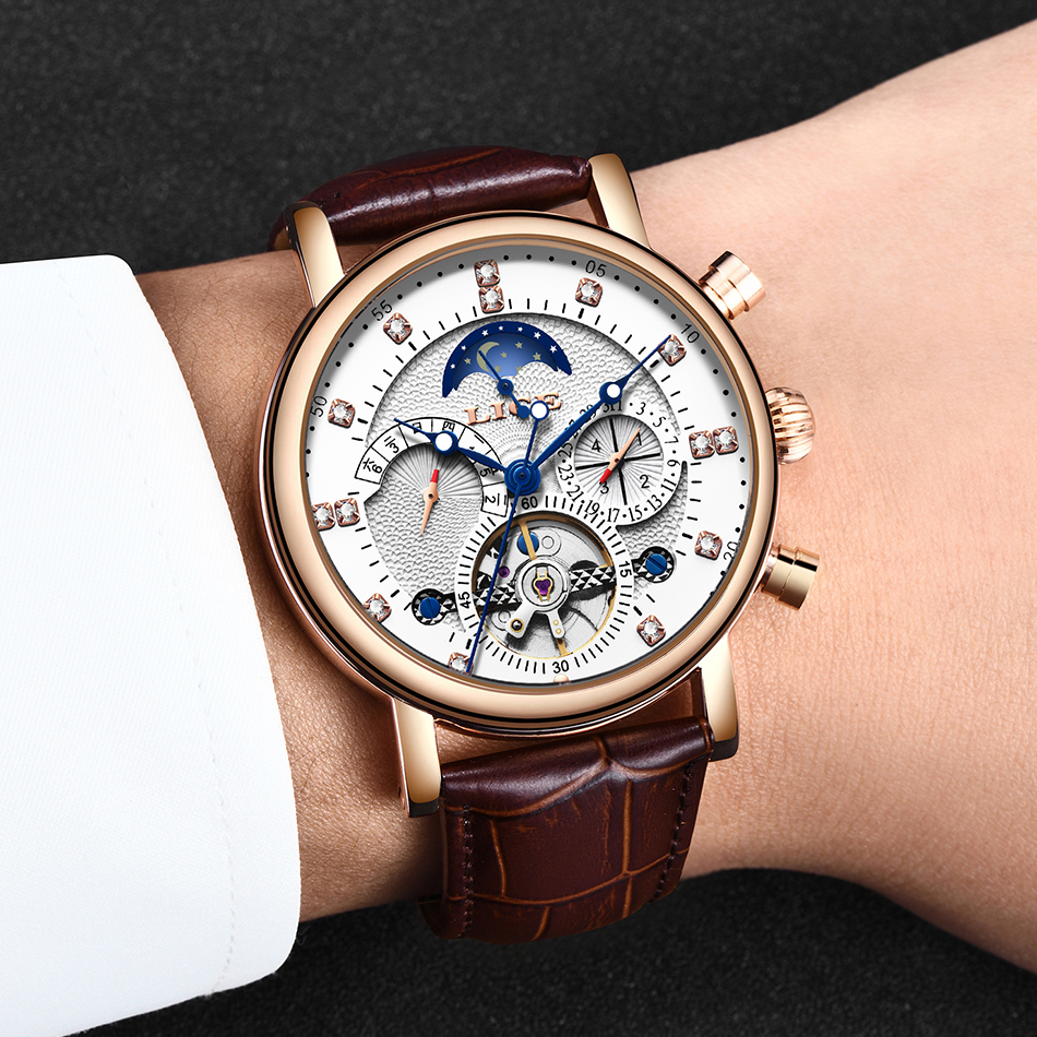 He21c0e01e79245ecac59e75be478482dJ LIGE Gift Mens Watches Brand Luxury Fashion Tourbillon Automatic Mechanical Watch Men Stainless Steel watch Relogio Masculino