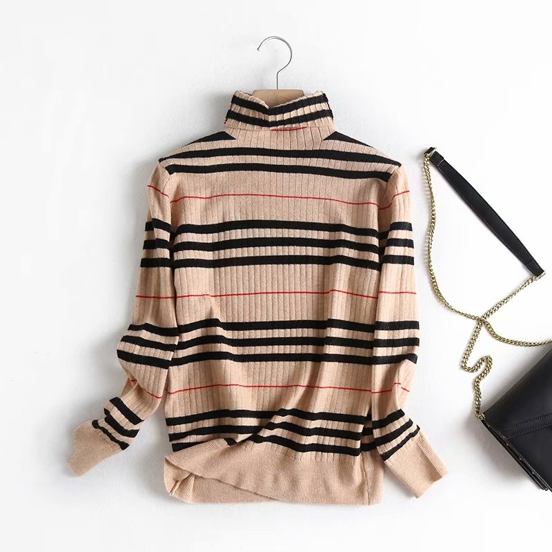 Khaki Plaid England Style Turtleneck Pullover Sweater Knitted Pullover Basic Sweaters S29699-AQ