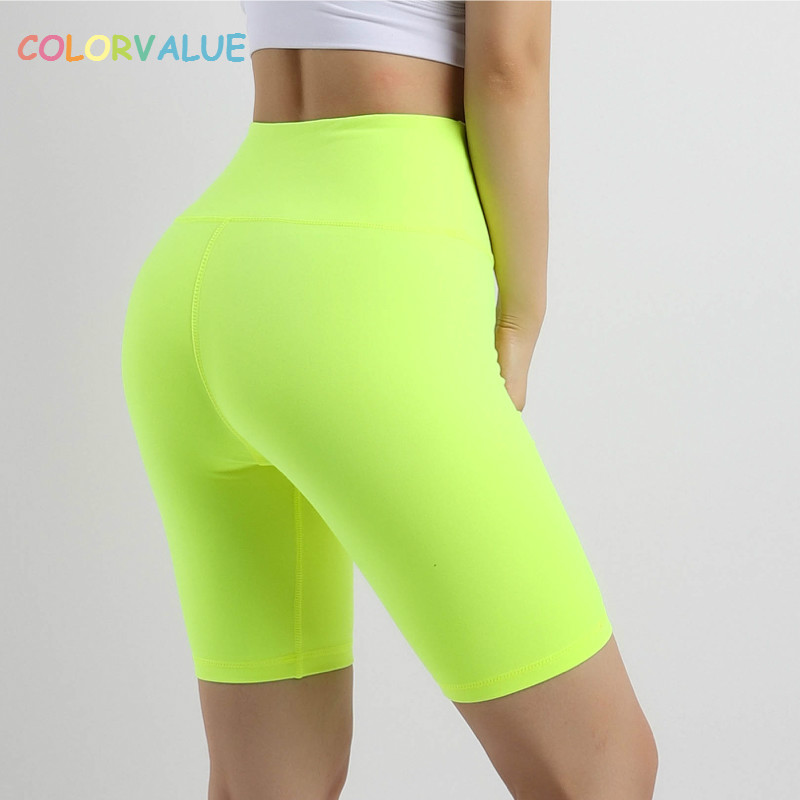 Colorvalue Neon Color Training Sport Long Shorts Women Stretchy High Waist Fitness Yoga Shorts Nylon Plain Workout Running Short
