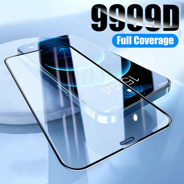 زجاج حماية على آيفون 6 7 8 Plus XR X XS زجاج غطاء كامل آيفون 11 12 برو ماكس حامي شاشة صغير الزجاج المقسى