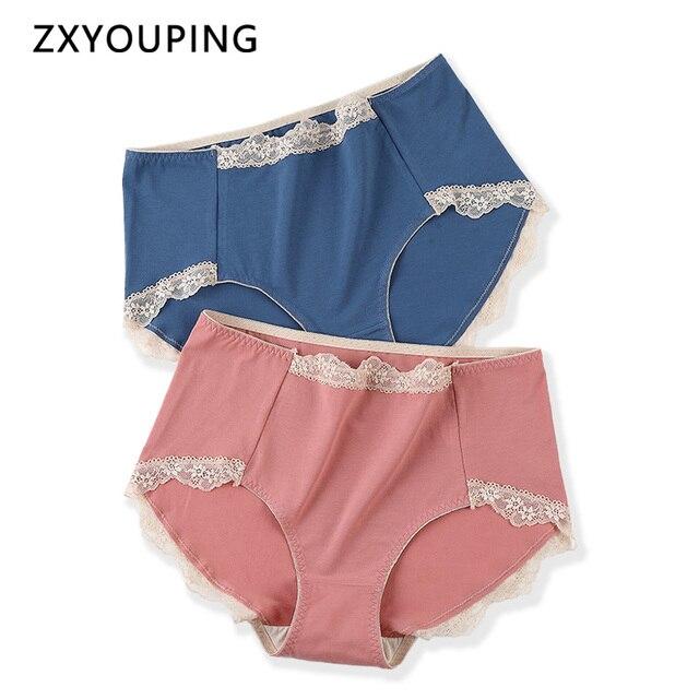 ارتفاع الخصر النساء الملابس الداخلية حجم كبير XXL 4XL سراويل داخلية نسائية من الدانتيل التوت الحرير مضاد للجراثيم المنشعب القماش سلس سراويل داخلية قطنية الإناث