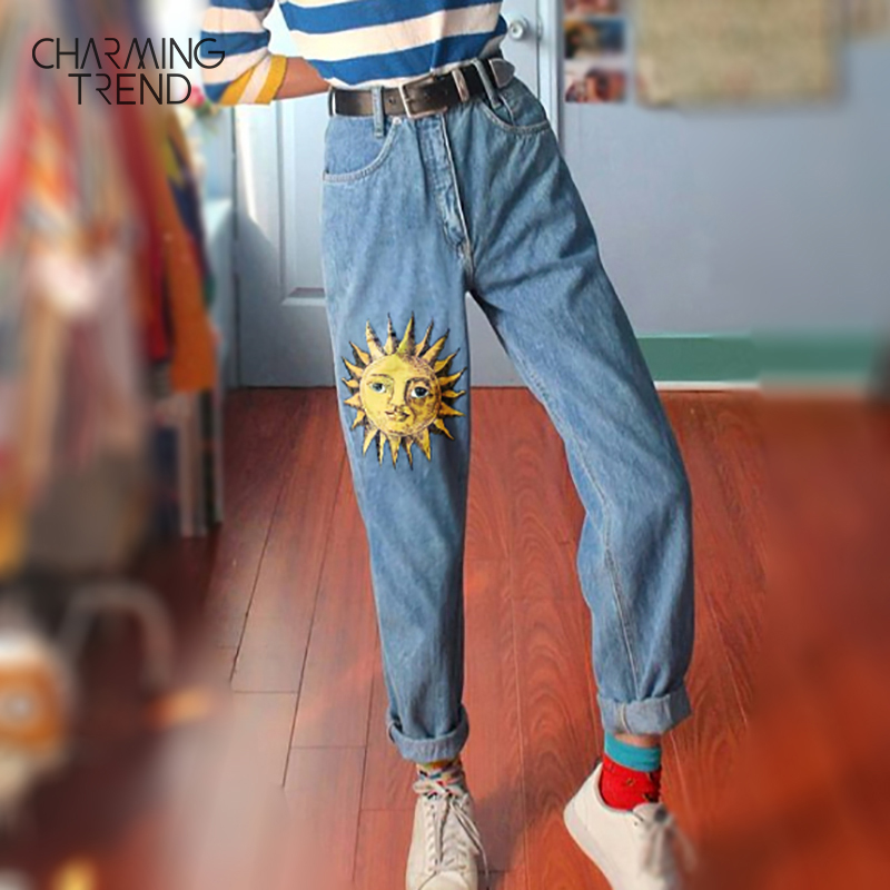 Fashion Sun Cartoon Printed Women's Jeans 2020 Spring And Summer Girl Sun Pattern Pants Vintage Student Vacation Chic Jeans