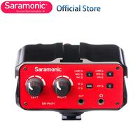 Saramonic 2 Channel Audio Mixer Preamp Mic Adapter Dual XLR 6.3 & 3.5mm Inputs for iPhone X 8 7 6 Smartphone Guitar DSLR Camera