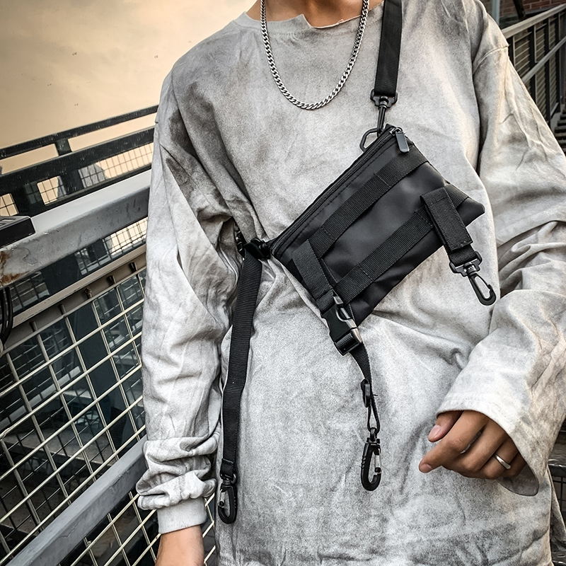 Multifunction Fashion Men Crossbody Bags Waterproof Nylon Chest Pack Hip Hop Style Black Messengers Shoulder Bag Streetwear 2019
