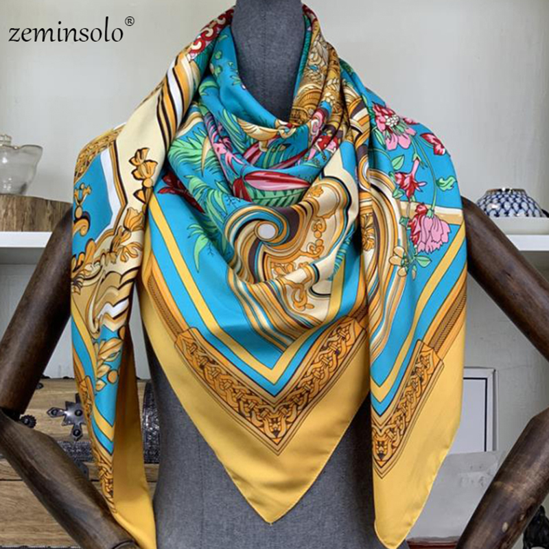 130*130cm Silk Square Scarf Women Scarves Printed Foulard Big Hijab Bandana Lady Neckerchief High Quality Silk Scarves Shawls