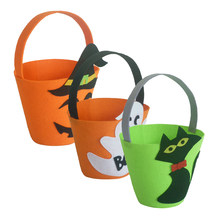 Halloween Felt Fabric Gift Bag Trick or Treat Candy Bucket with Handle Halloween Party Costumes Supplies Decorations(China)