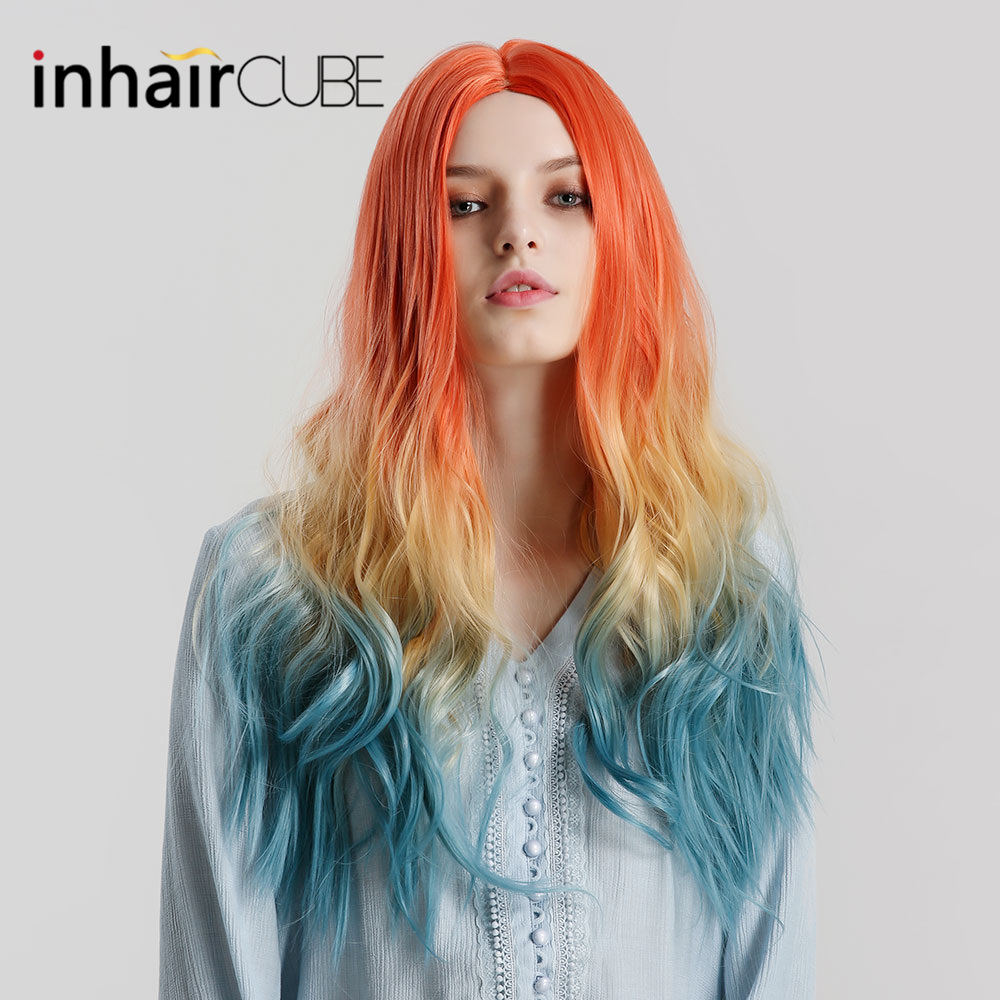 Inhaircube Ombre Long Wavy Orange Blonde Blue Cosplay Lolita Wigs With Bangs For Women Natural Synthetic Fake Hair Real Hairline