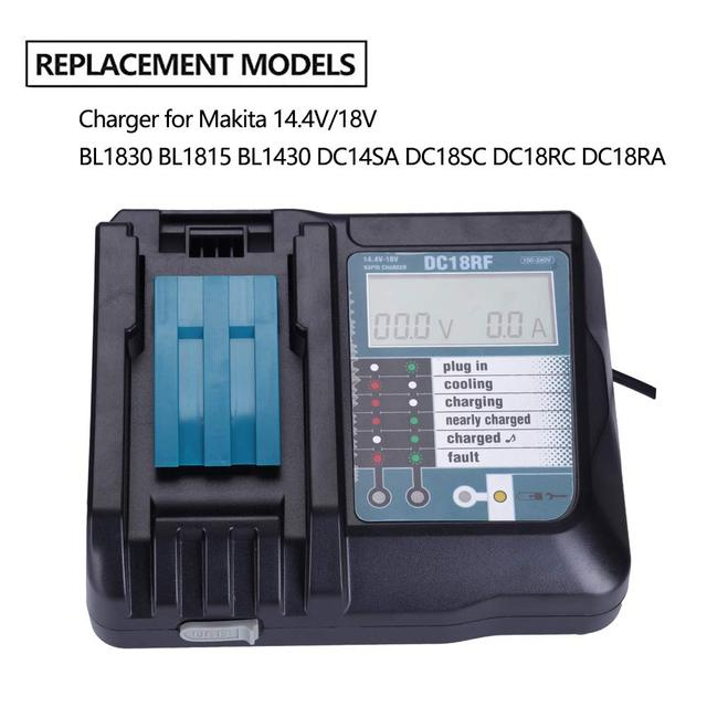 Charger Vervanging Voor Mikita Charger 14.4/18V DC18RC/DC18RF 3.5A Usb Interface Lcd Display Snelle Opladen Eu/Us/Uk Plug Adapter