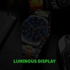 Image 4 - MEGALITH Роскошные мужские часы, спортивные часы с хронографом, водонепроницаемые аналоговые кварцевые часы с датой 24 часа, мужские полностью Стальные наручные часы