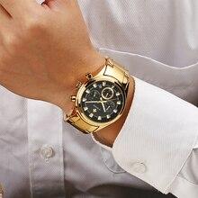 นาฬิกาผู้ชายแบรนด์หรู WWOOR นาฬิกาสีดำทองผู้ชาย 2020 ใหม่กันน้ำ Chronograph Golden นาฬิกาข้อมือชายนาฬิกาผู้ชาย 2019