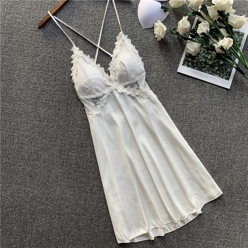 QWEEK Satin Nightgown Lingerie Lace Nightdress Sleepwear Women Sexy Nightwear Summer Nightie Spaghetti Strap Sleepwear 2020