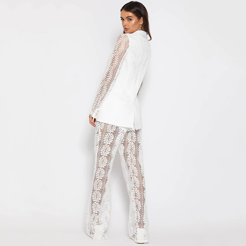 Cryptographic Lace Embroidery Fashion Club Outfit Women Suits Blazer Set Women Sexy Two Piece Set Long Sleeve Top and Flare Pant