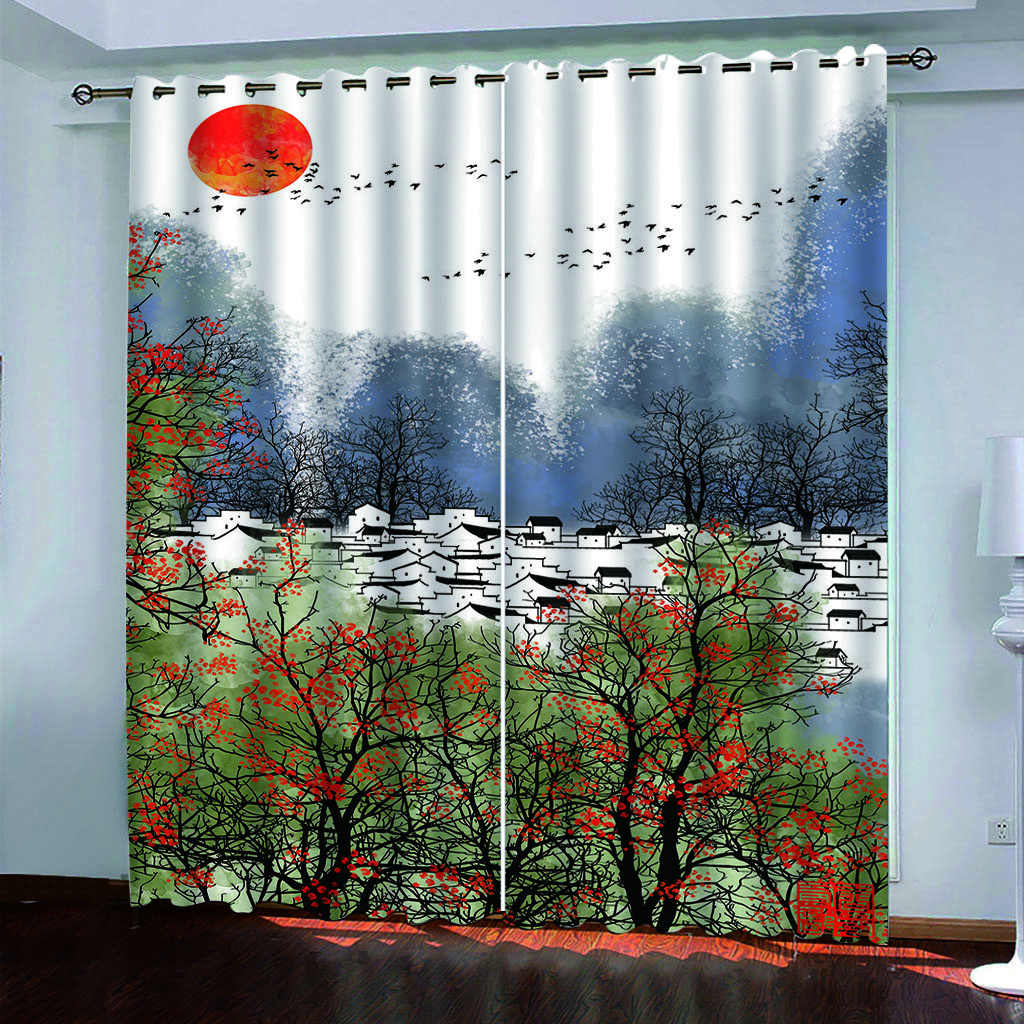 Custom Simple 3d Curtain Home Window Blackout Curtains For Living Room Bedroom Window Beautiful Village Curtains 2020 Curtains Aliexpress