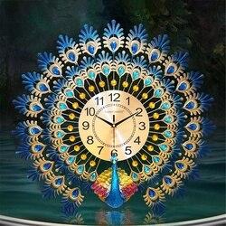 Tavus kuşu yaratıcı sessiz kuvars saat duvar saati avrupa ev oturma oda duvar dekorasyonu saatler Metal dijital duvar saati s