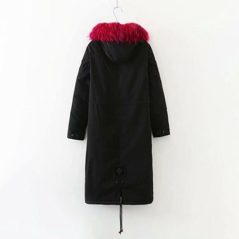 Зимняя женская куртка размера плюс, теплая, до колена, с капюшоном, с хлопковой подкладкой, куртки для женщин, Утолщенные, Длинные парки, верхняя одежда - 2