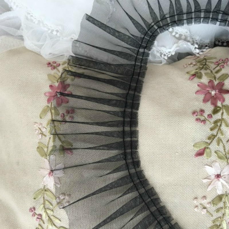 15 meter 6cm 2.36 wide blackivorypurple ruffled mesh fabric dress embroidery tapes lace trim ribbon H47S628R190929H