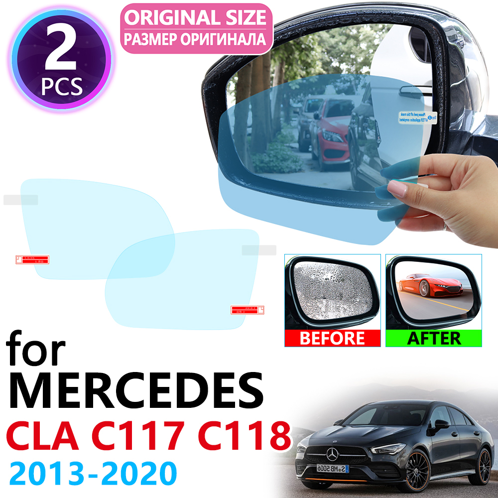 for <font><b>Mercedes</b></font> <font><b>Benz</b></font> <font><b>CLA</b></font> Class C117 C118 CLA180 <font><b>200</b></font> 220 250 AMG CLA200 2013~2020 Anti Fog Film Cover Rearview Mirror Accessories image