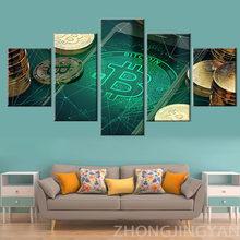 Toile imprimée moderne avec 5 panneaux, pièces d'argent, affiches d'art murales, image de Casino, décoration de maison, salon, Mur de chambre à coucher