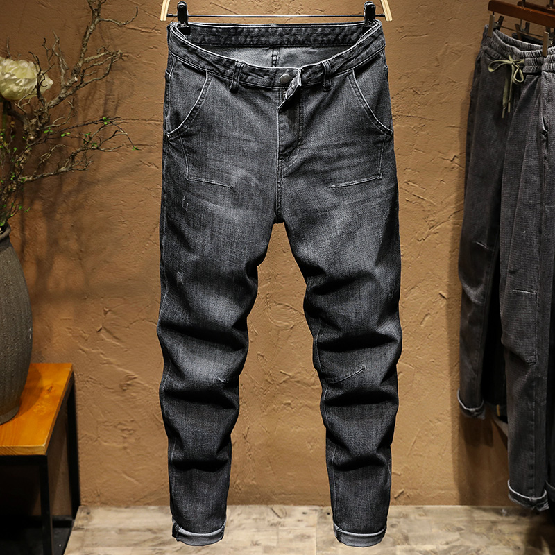 KSTUN Relaxed Tapered Jeans Men Black Gray Jeans Loose fit through the hips and thighs but tapers to a slim jean near the ankles 11