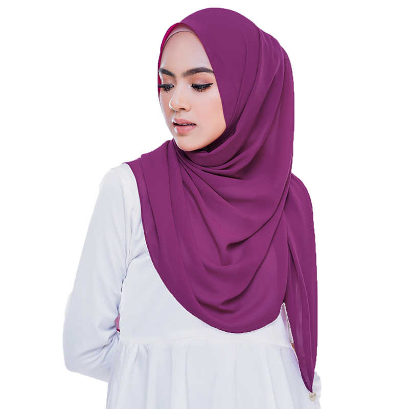 רגיל בועת שיפון חיג 'אב צעיף צעיף נשים 2020 מוצק צבע ארוך וכורכת המוסלמי Hijabs צעיפי גבירותיי צעיף Femme