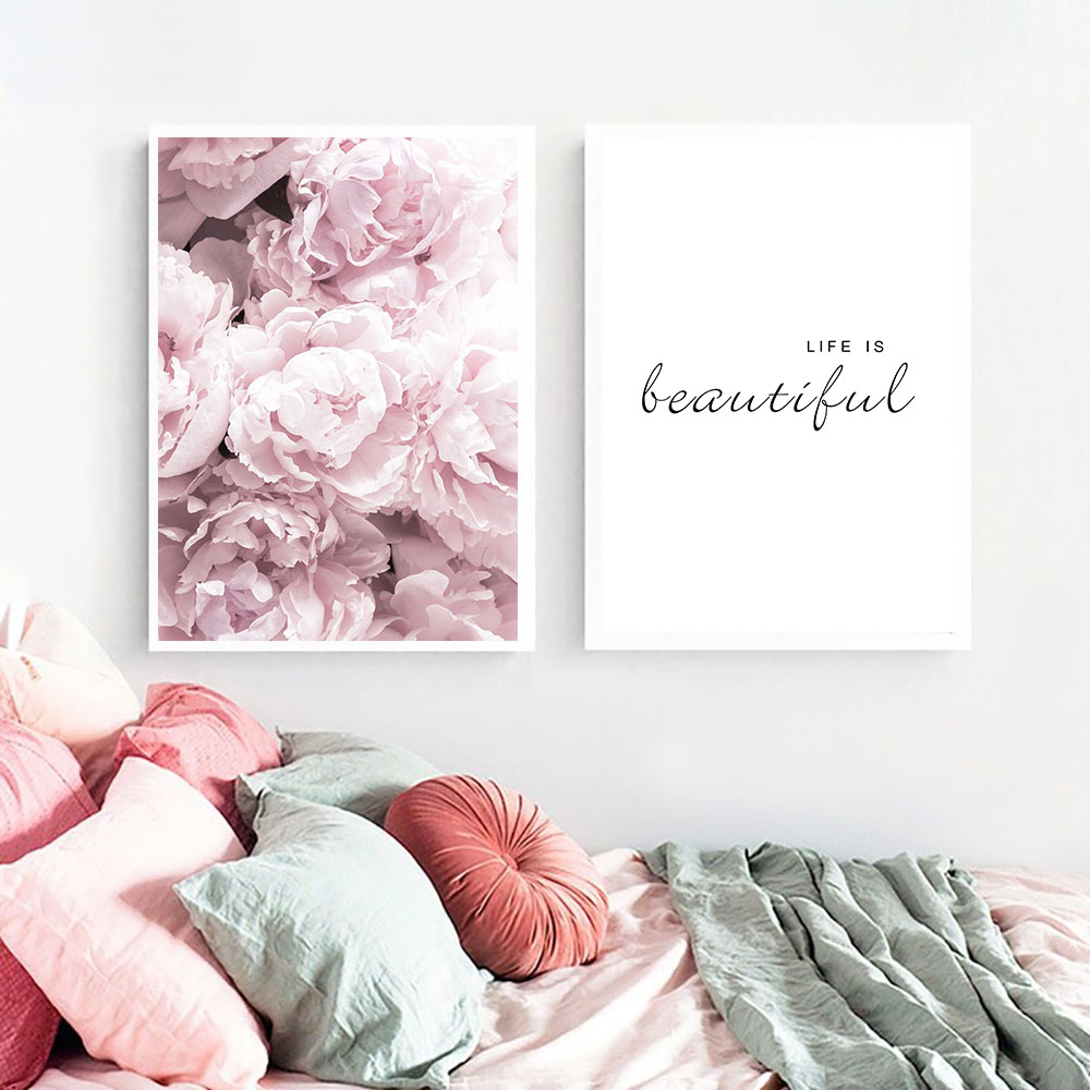 pink peony flower decorative pictures wall art canvas painting