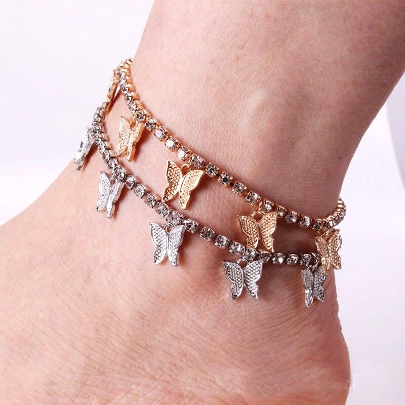 Bling tennis chain Butterfly Anklet Rhinestone Crystal Ankle Bracelet Boho Beach Anklet for Women Sandals Foot Bracelets Jewelry