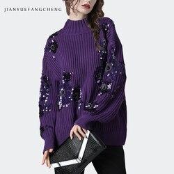 Luxus Pailletten Lila Pullover Frauen Warm Verdicken Gestrickte Winter Top Lose Plus Größe Elegante Büro Damen Pullover Pullover