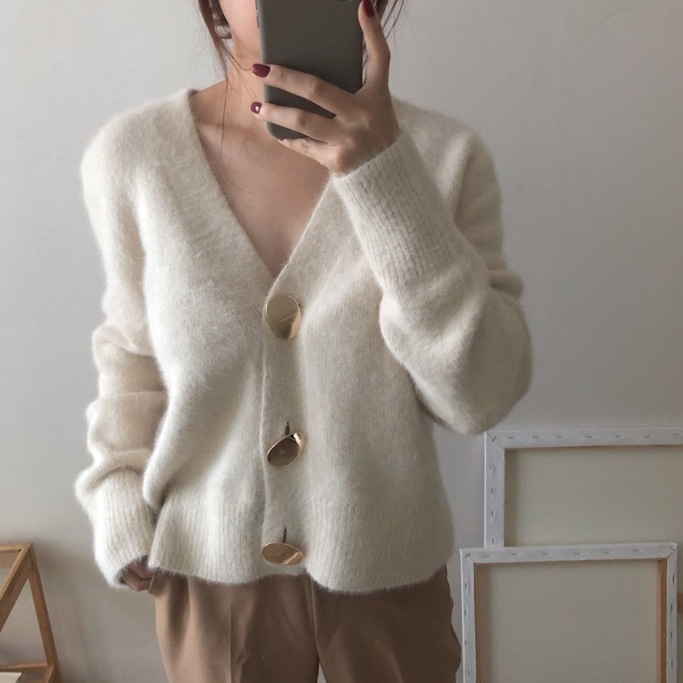 Mooirue Autumn Women Soft White Knitted Cashmere Sweater Double Button Women Warm Jumper V-Neck Winter Sweater
