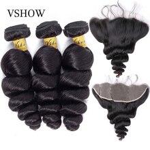 VSHOW البرازيلي فضفاض موجة 3 حزم مع إغلاق 13x4 أمامي 100% نسج على شكل شعر إنسان حزم مع تمديدات شعر ريمي أمامي