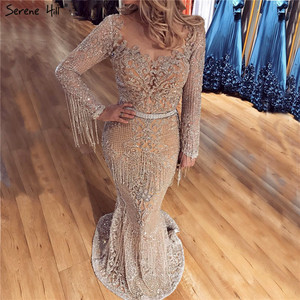 Image 1 - Dubai Luxury Long Sleeve Sparkle Tassels Evening Dresses 2020 Sequined Beading Sexy Robe De Soiree Plus Size BLA60707