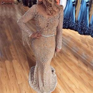Image 1 - Dubai luxo manga longa brilho borlas vestidos de noite 2020 lantejoulas beading sexy robe de soiree plus size bla60707