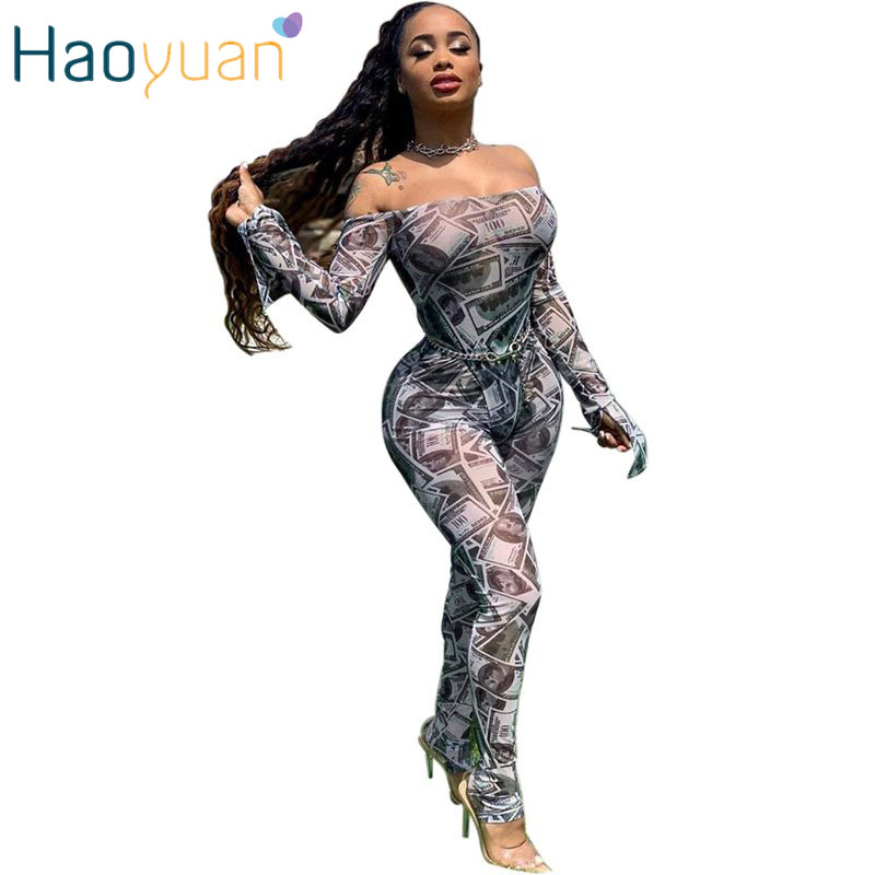 HAOYUAN Dollar Mesh Sheer Two Piece Set Women Festival Clothing Bodysuit Top And Pant Sexy Club Outfits 2 Piece Matching Sets