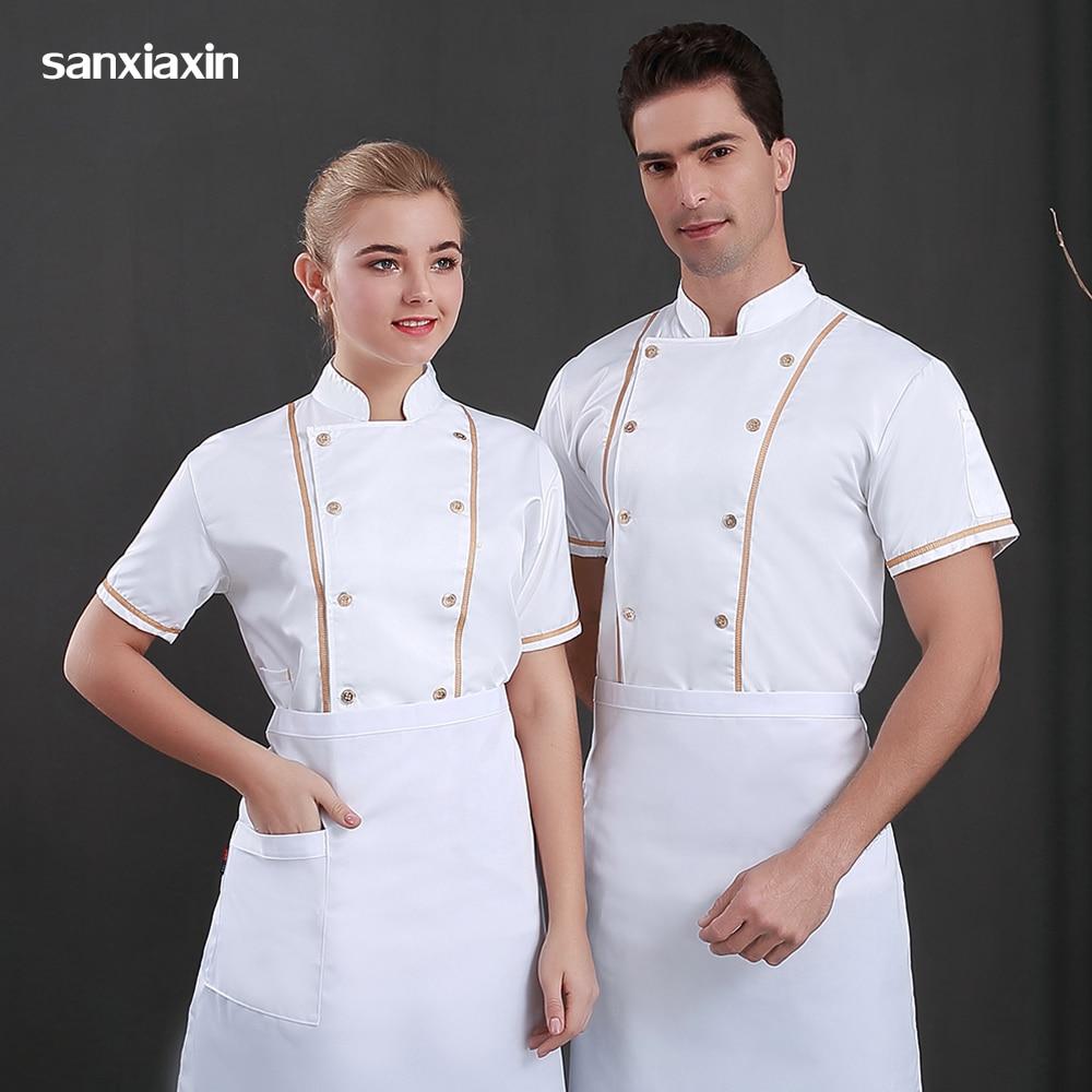Unisex Blue&white Chef Jackets Chef Uniform Restaurant Hotel Catering Bakers Work Coats Coffee Waitress Workwear Sushi Costume