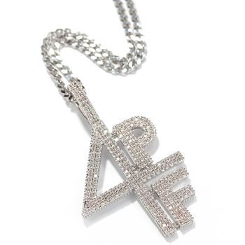 Hip Hop Men Ice Out Cubic Zircon 4PF Digital Letters Necklace 3mm*24inch Stainless Steel DJ Singer Favorite Necklace Jewelry