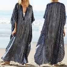 Размера плюс полосатая летняя пляжная одежда шифон Кафтан пляжная Женская Туника банное платье халат ПЛАЖ одежда для плавания накидка# Q844