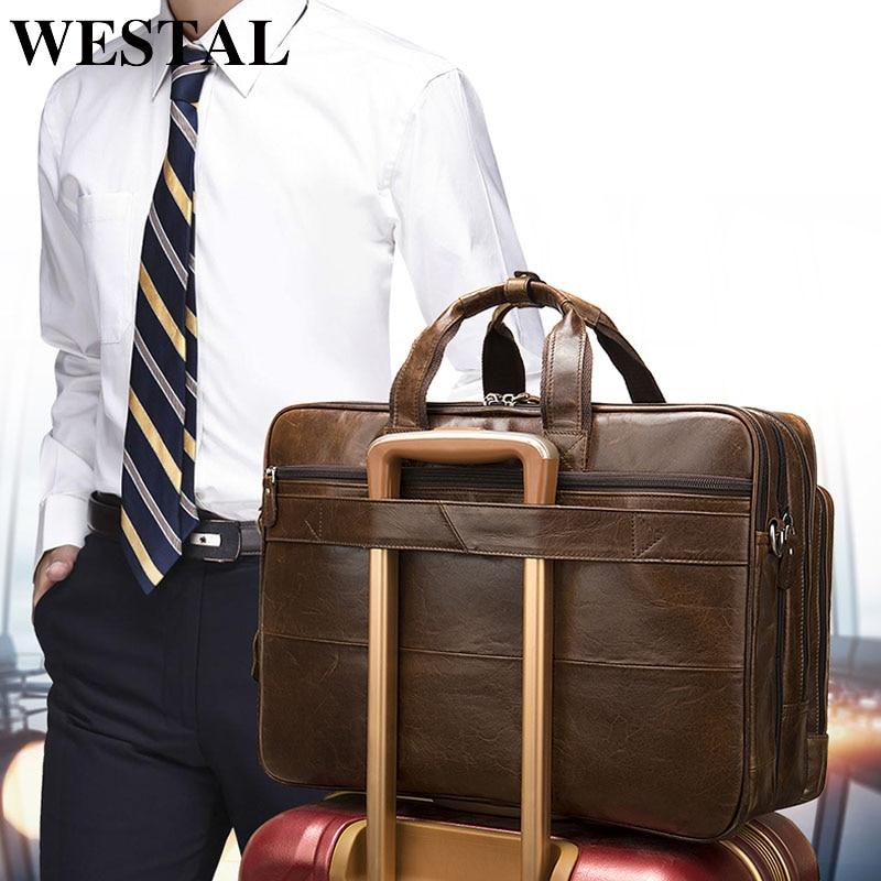 WESTAL bagages sacs de voyage hommes en cuir véritable valises et sacs de voyage bagages à main grand sac de week-end en cuir pour costume 7343