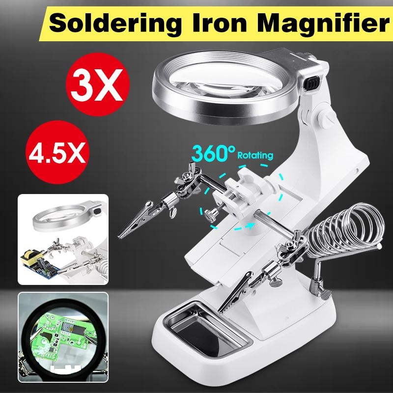 360 Adjustable Soldering Iron Station Stand Welding Tool Magnifying Glass LED Clip Holder Clamp Desktop Helping Hand Repair Tool