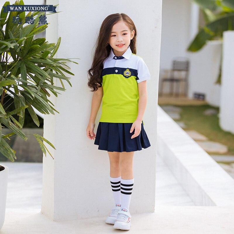 British Style Kindergarten Suit Summer 6 Young STUDENT'S School Uniform Business Attire Short Sleeve T-shirt Suit National Day C