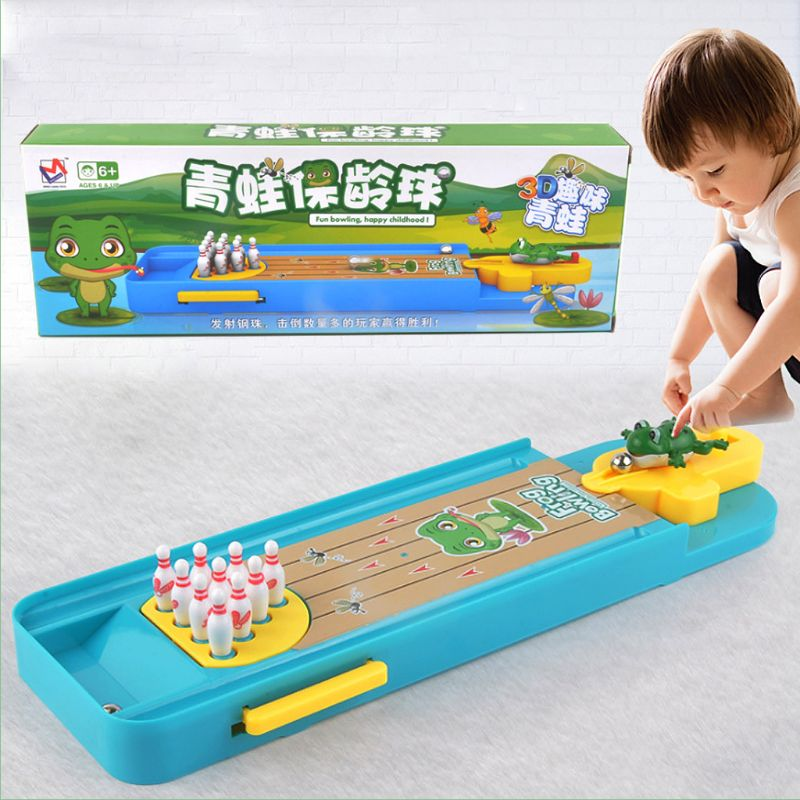 Children Mini Desktop Frog Bowling Toy Kits Portable Indoor Education Table Game New