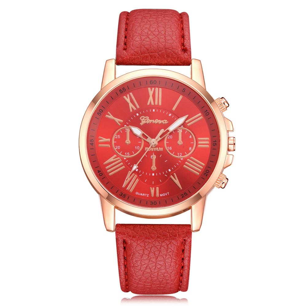 Foloy Women Watch Luxury Fashion Casual Geneva Roman Numerals Faux Leather Analog Quartz Female Watches