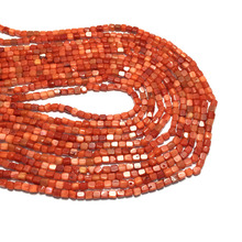 Wholesale Natural Stone Coral Beads for Jewelry Making Square Shape Loose Isolation DIY Lucky Bracelet Necklace