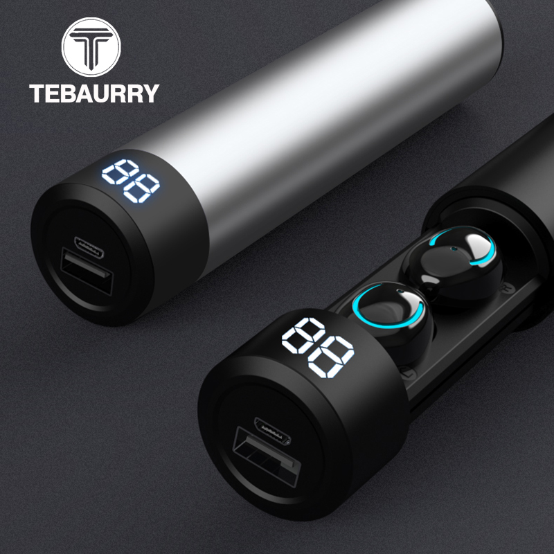 <font><b>TWS</b></font> Bluetooth Earphone Wireless Headphones 6D Stereo Wireless Earphones Mini Earbuds with Mic 2600mAh Charging Bin Power Bank image
