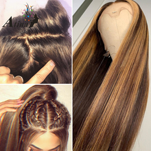 Ombre Highlight Wig Brown Honey Blonde Colored 13×6 HD Whole Lace Front Human Hair Wigs Straight Full 360 Lace Frontal Wig Remy