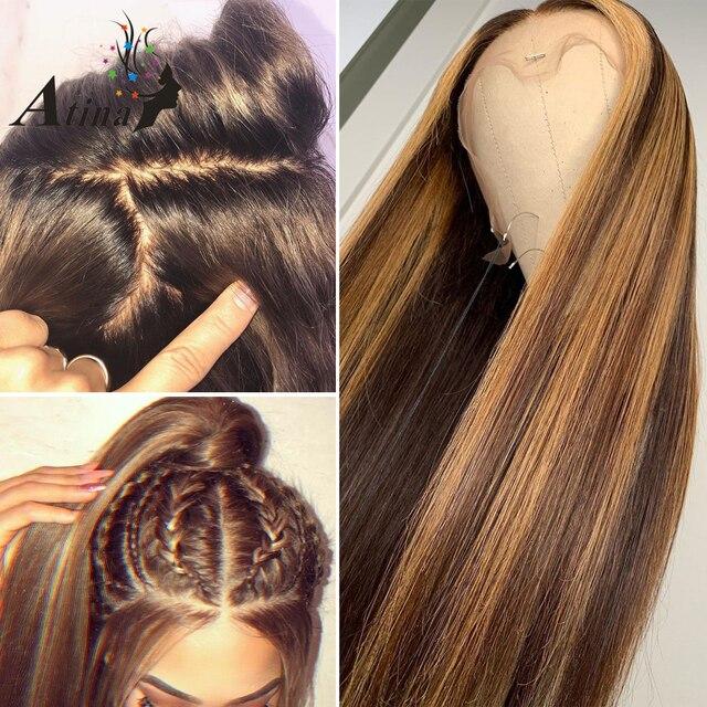 Ombre destacado peluca marrón rubio miel de color 13x6 HD todo el cordón Frontal pelucas de cabello humano recta completa 360 peluca Frontal de encaje Remy