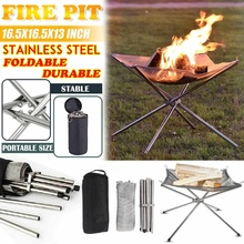 NEW Outdoor Portable Fire Rack Folding Table Grill Stainless Super Heating Steel Grid Camping Light Point Wood Charcoal Stove