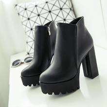 Women's Fashion Side Zipper Ankle Boots Platform Thick High Heel 12 cm Ladies Boots Winter Woman ShoesBlack boot(China)